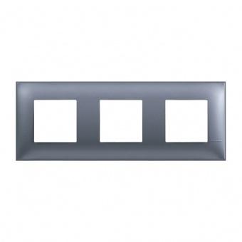 PVC тройна рамка, blue metal, bticino, classia, r4802m3lm