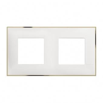 PVC двойна рамка, white gold, bticino, classia, r4802m2wd