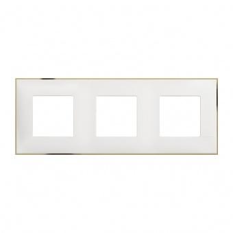 PVC тройна рамка, white gold, bticino, classia, r4802m3wd