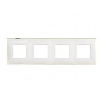 PVC четворна рамка, white gold, bticino, classia, r4802m4wd