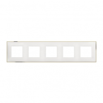 PVC петорна рамка, white gold, bticino, classia, r4802m5wd