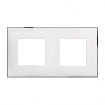 PVC двойна рамка, white chrome, bticino, classia, r4802m2wr