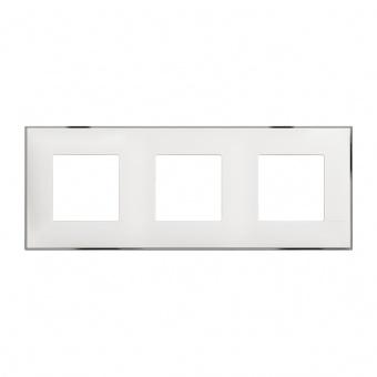 PVC тройна рамка, white chrome, bticino, classia, r4802m3wr