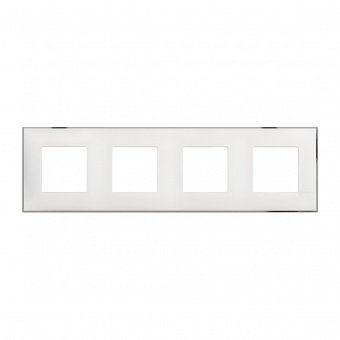 PVC четворна рамка, white chrome, bticino, classia, r4802m4wr