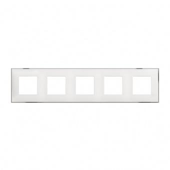 PVC петорна рамка, white chrome, bticino, classia, r4802m5wr