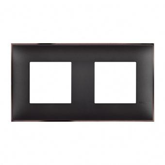 PVC двойна рамка, black nickel, bticino, classia, r4802m2bh