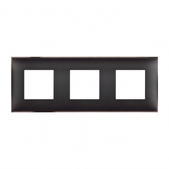 PVC тройна рамка, black nickel, bticino, classia, r4802m3bh