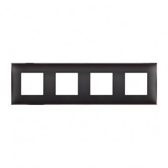 PVC четворна рамка, black nickel, bticino, classia, r4802m4bh