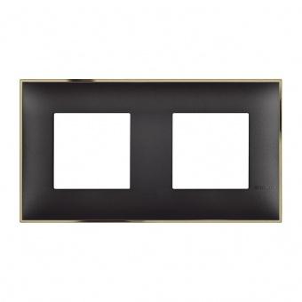 PVC двойна рамка, black gold, bticino, classia, r4802m2bd