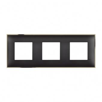 PVC тройна рамка, black gold, bticino, classia, r4802m3bd