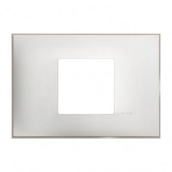 PVC двумодулна рамка, white satin, bticino, classia, r4819ws