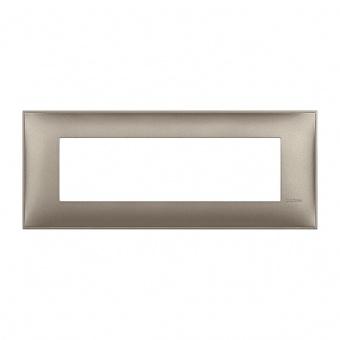 PVC седеммодулна рамка, titanium metal, bticino, classia, r4807tm