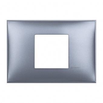 PVC двумодулна рамка, blue metal, bticino, classia, r4819lm