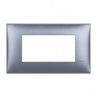 PVC четиримодулна рамка, blue metal, bticino, classia, r4804lm