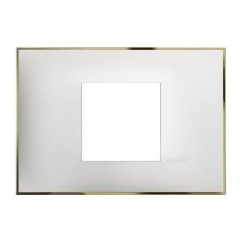 PVC двумодулна рамка, white gold, bticino, classia, r4819wd