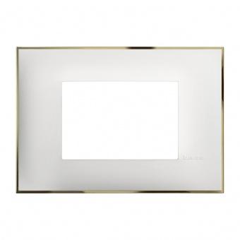 PVC тримодулна рамка, white gold, bticino, classia, r4803wd
