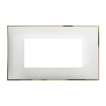 PVC четиримодулна рамка, white gold, bticino, classia, r4804wd