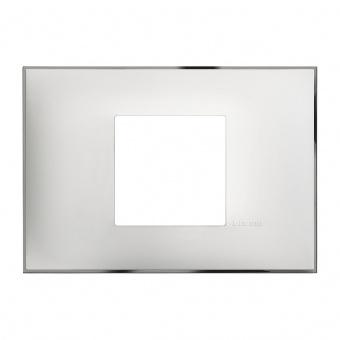 PVC двумодулна рамка, white chrome, bticino, classia, r4819wr