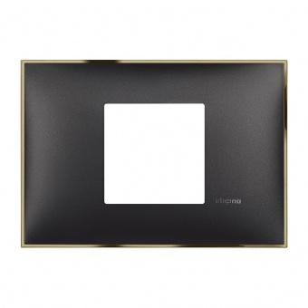 PVC двумодулна рамка, black gold, bticino, classia, r4819bd