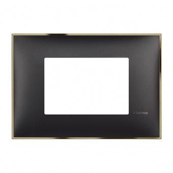 PVC тримодулна рамка, black gold, bticino, classia, r4803bd