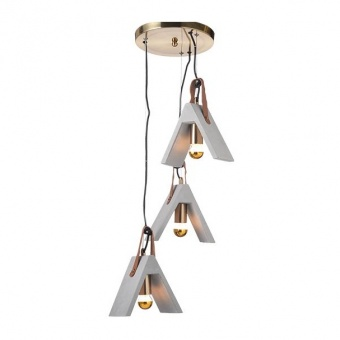 полилей от цимент, brushed brass+natural, aca lighting, alfa, 3x40w, dcr171193pr