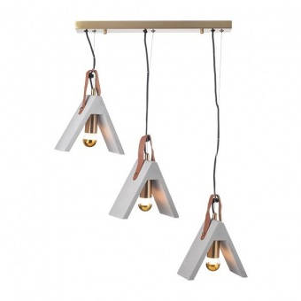 полилей от цимент, brushed brass+natural, aca lighting, alfa, 3x40w, dcr171193ps