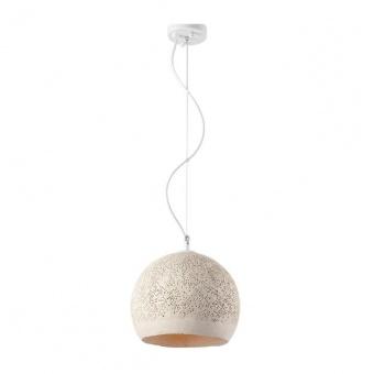 пендел от глина, beige+matt white, aca lighting, avantgarde, 1x40w, v372251pbe