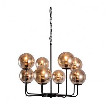 стъклен полилей, matt black+amber spots, aca lighting, vintage, 8x40w, od905808pam