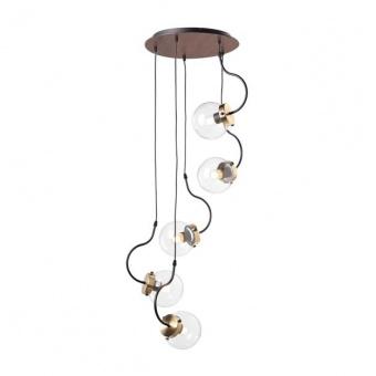 стъклен полилей, matt black+brushed brass+clear+dark wood shade, aca lighting, vintage, 5x40w, od905905p