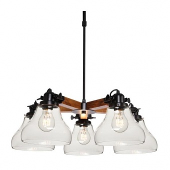стъклен полилей, matt black+dark shade+clear, aca lighting, vintage, 5x40w, od905005p