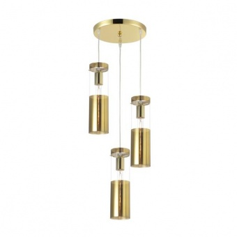 стъклен полилей, polished brass, aca lighting, style, 3x40w, v371973ppb