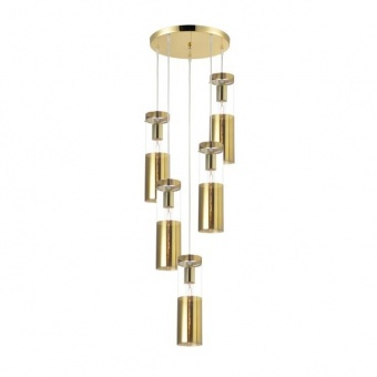 стъклен полилей, polished brass, aca lighting, style, 5x40w, v371975ppb