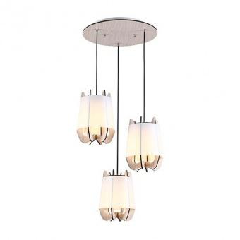 pvc полилей, light wood shade+matt white+white, aca lighting, style, 3x40w, zm170013p