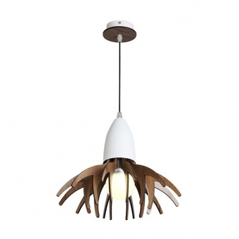 метален пендел, matt white+dark wood shade, aca lighting, style, 1x40w, zm170031p