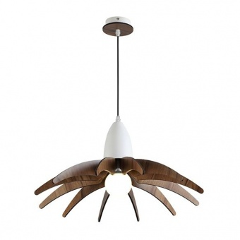 метален пендел, matt white+dark wood shade, aca lighting, style, 1x40w, zm170041p