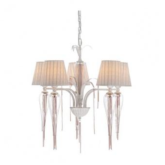 текстилен полилей, goldwhite patine+white+clear+rose gold, aca lighting, textile, 5x40w, eg170305pwrg