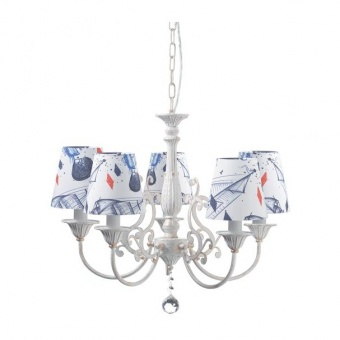 текстилен полилей, goldwhite patina+white navy+clear, aca lighting, textile, 5x40w, eg169885pb