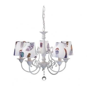 текстилен полилей, purple patina+white-multicolour+clear, aca lighting, textile, 5x40w, eg169885pp