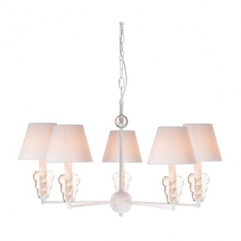 текстилен полилей, matt white+white-gold+amber, aca lighting, textile, 5x40w, eg168455pwa