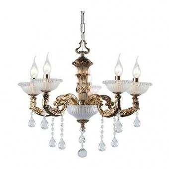 кристален полилей, polished antique brass+clear-krystalize, aca lighting, elegant, 5x40w, eg166495pbr