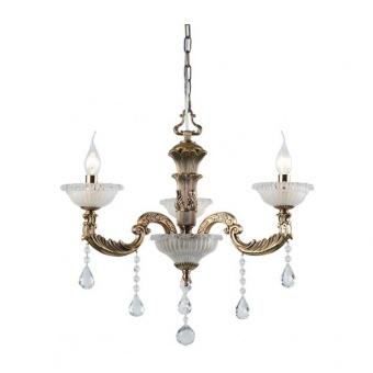 кристален полилей, polished antique brass+clear-krystalize, aca lighting, elegant, 3x40w, eg166493pbr