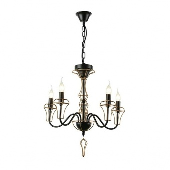 метален полилей, matt black+brass paint, aca lighting, elegant, 5x40w, eg168205pb
