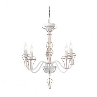 метален полилей, white+brass paint, aca lighting, elegant, 5x40w, eg168205pw