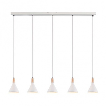 метален полилей, matt white+natural, aca lighting, primary, 5x40w, gn285pwh