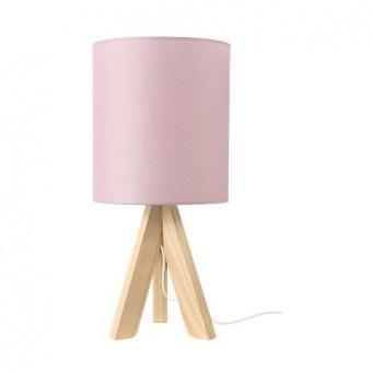 текстилна настолна лампа, pale pink+natural, aca lighting, floor&table&office luminaires, 1x40w, tf176721tpp