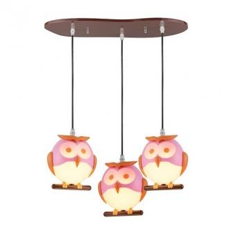 pvc полилей, pink+orange+white+brown, aca lighting, bambini luminaires, 3x13w, zn160203pp