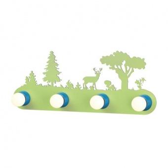 pvc аплик, green+blue, aca lighting, bambini luminaires, 4x40w, zn170114wg