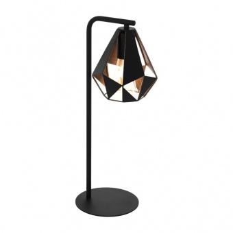 метална настолна лампа, black/copper-antique, eglo, carlton 4, 1x60w, 43058
