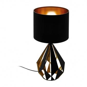 метална настолна лампа, black/copper-antique, eglo, carlton 4, 1x60w, 43077