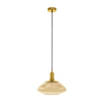стъклен пендел, amber, eglo, torrontes, 1x60w, 98619